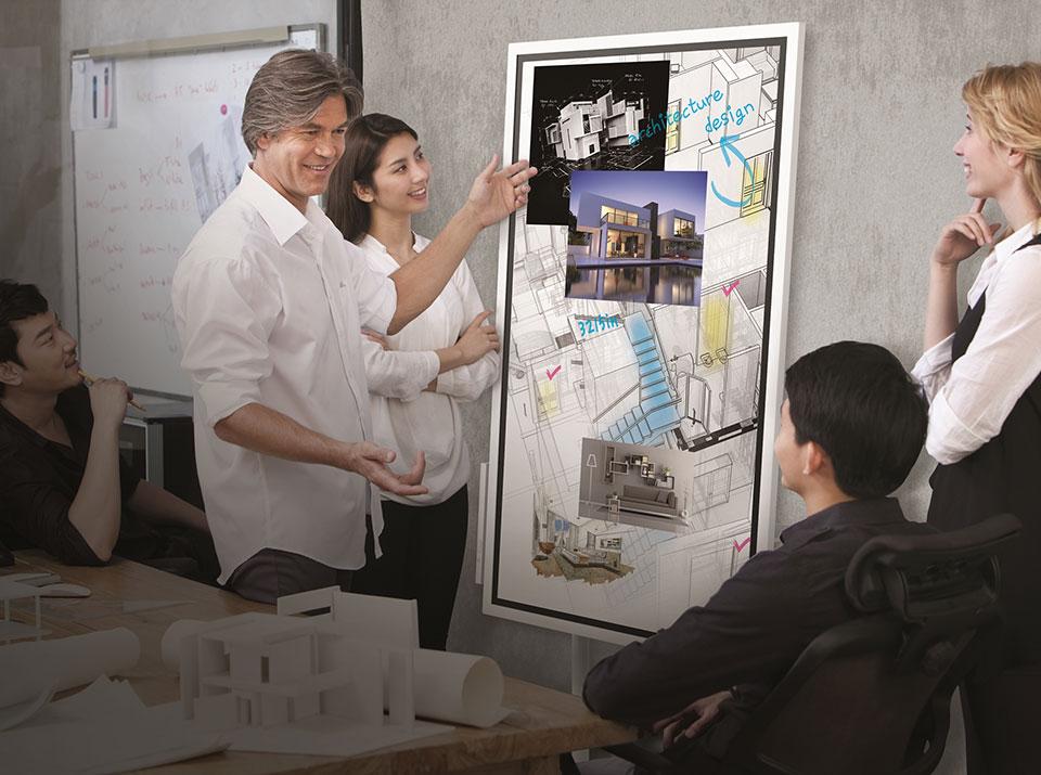 Samsung Flip Nutzung Architektur Meeting