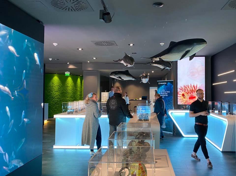 Übersicht brandsn mind mit Ozeaneum Ausstellungsobjekten, Seiko Tauheruhren und dem Head of Retail auf der rechten Seite
