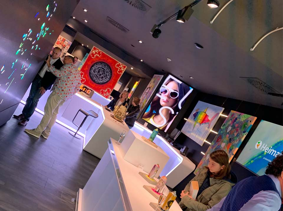 Dutch angle shot Pop Art kingdom with visiting customers